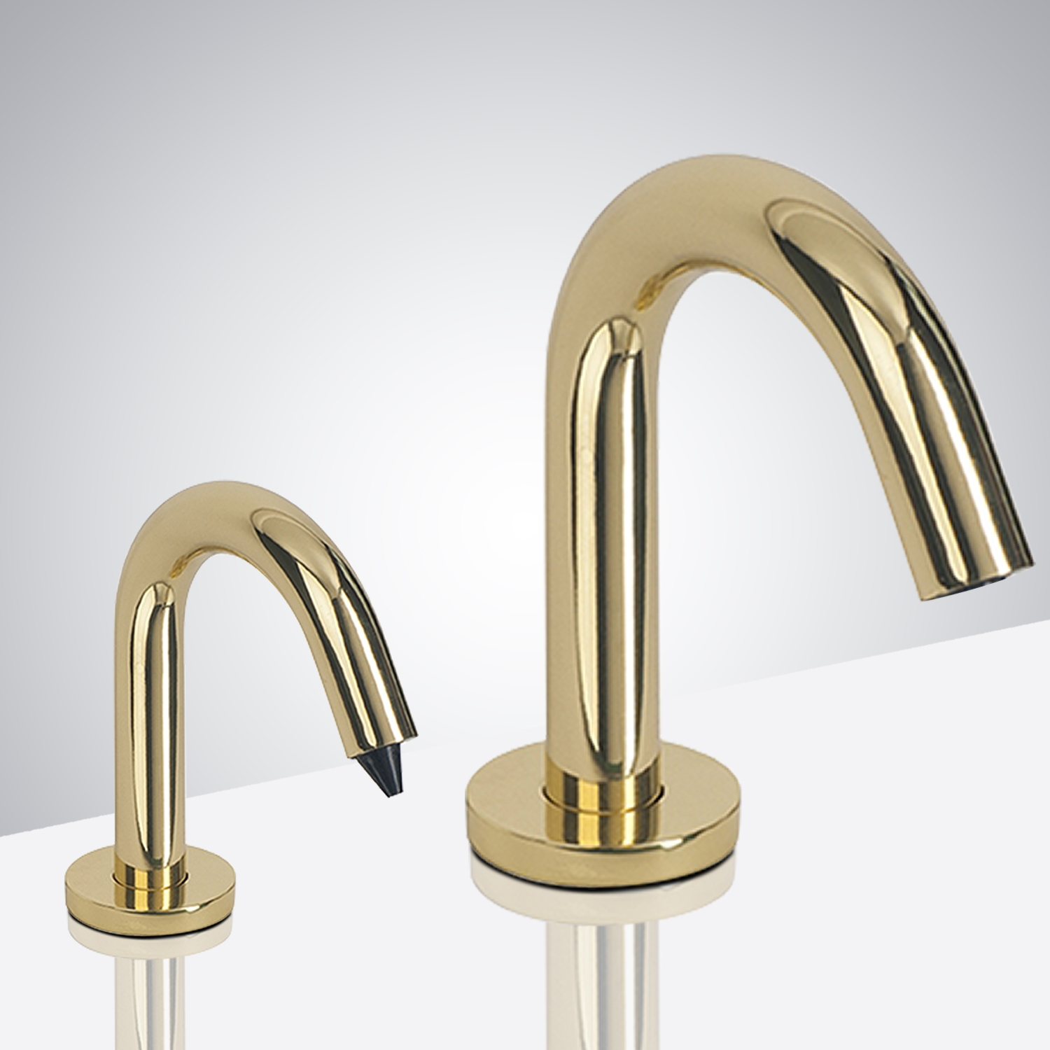 Fontana Milan Commercial Automatic Freestanding Shiny Gold Dual Sensor Faucet And Soap Dispenser