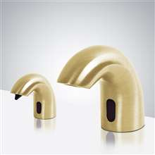 Fontana Rio Solid Brass Brushed Gold Finish Deck Mount Dual Automatic Commercial Sensor Faucet And Soap Dispenser