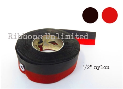 70BKRD 1/2 X18Yds Black/Red Nylon Ribbon W/Eyelets