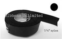 71BK 7/16 X12Yds Black Nylon Ribbon With Eyelets