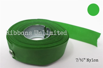 71GN 7/16 X12Yds Green Nylon Ribbon With Eyelets
