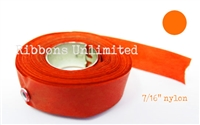 71OR 7/16 X12 Yds Orange Nylon Ribbon W/Eyelets
