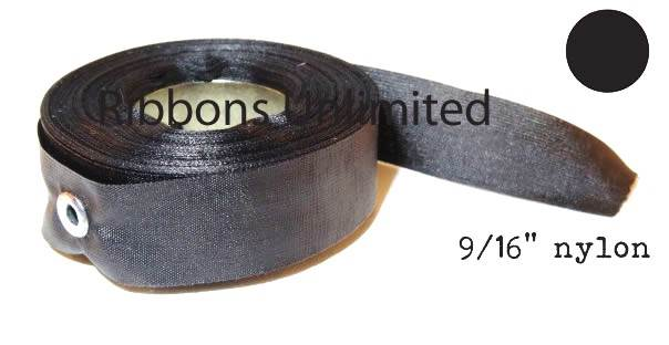 72BK 9/16 X18Yds Black Nylon Ribbon With Eyelets