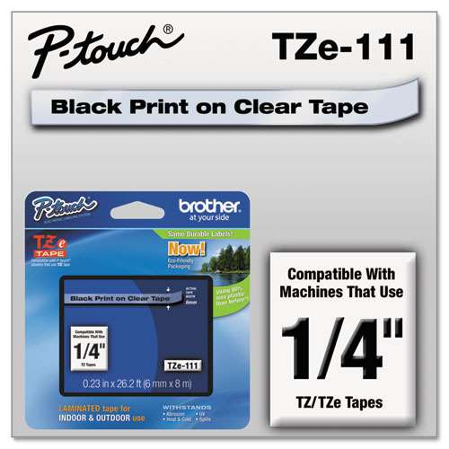 Brother TZE111 1/4 TZE 6MM Black On Clear Tape