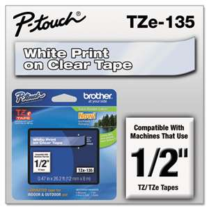 Brother TZE135 1/2 TZE 12MM White On Clear Tape
