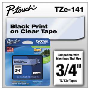 Brother TZE141 3/4 TZE 18MM Black On Clear Tape