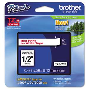Brother TZE232 1/2 TZE 12MM Red On White Tape