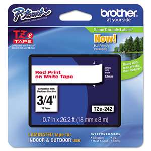 Brother TZE242 3/4 TZE 18MM Red On White Tape