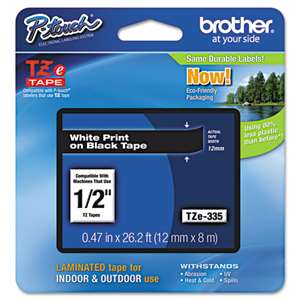 Brother TZE335 1/2 12MM White On Black Tape