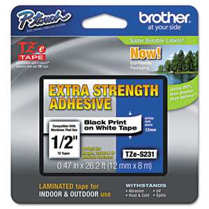 Brother TZES231 1/2 12MM Black On White Tape