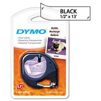 DYMO 16952 Letra Tag Plastic Black on Clear Tape