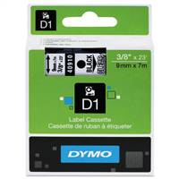 DYMO 40910 D1 Black on Clear Tape 3/8 X23'