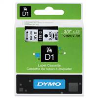 DYMO 41913 D1 Black on White Tape 3/8 X23'