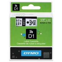 DYMO 43613 D1 Black on White Tape 1/4 X23'