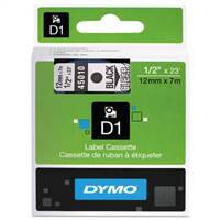 DYMO 45010 D1 Black on Clear Tape 1/2 X23'