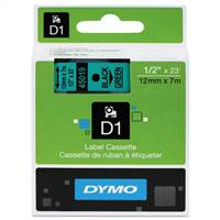 DYMO 45019 D1 Black on Green Tape 1/4 X23'