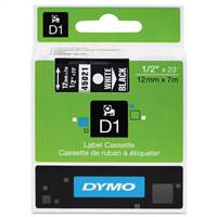 DYMO 45021 D1 White on Black Tape 1/2 X23'