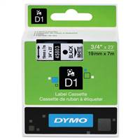 DYMO 45803 D1 Black on White Tape 3/4 X23'