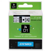 DYMO 53713 D1 Black on White Tape 1 X23'
