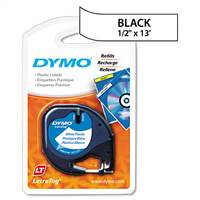 DYMO 91331 Letra Tag Plastic Black on White Tape