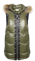 Contrast Long Vest with Fur Trim