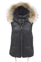 Contrast Short Vest with Fur Trim
