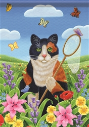 Butterfly Catching Kitty House Flag