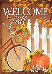 Fall Bicycle Decorative House Flag