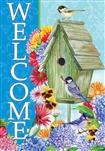 Welcome Birdhouse Decorative House Flag