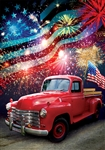 Patriotic Truck Decorative House Flag