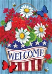 Patriotic Flowers Decorative House Flag