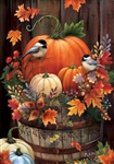 Pumpkin Barrel Decorative Garden Flag