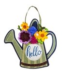 Floral Watering Can Burlap Door Decor