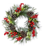 Painted Pine Cone & Berry Wreath
