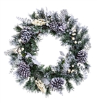 Snowy Pine Cone & White Berry Wreath