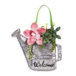 Succulents Watering Can Burlap & Fabric Door Decor