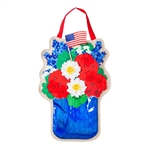 Patriotic Floral Mason Jar Burlap & Felt Door Decor