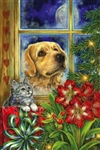 Peaceful Pet Christmas Decorative House Flag