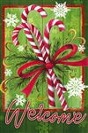 Candy Canes & Ribbon Decorative House Flag