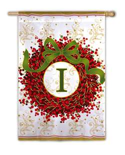 Berry Wreath Monogram I Garden Flag