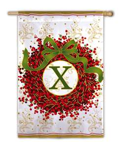 Berry Wreath Monogram X Garden Flag