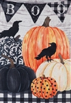 Pumpkins and Crows Linen Decorative Garden Flag
