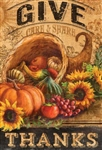 Give Thanks Cornucopia Decorative Garden Flag
