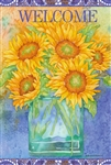 Welcome Sunflower Blues Garden Flag