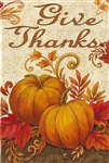 Give Thanks Pumpkins Decorative Garden Flag