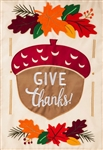 Give Thanks Acorn Applique Garden Flag