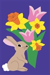 Cottontail with Flowers Handcrafted Full Size House Flag