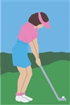 Lady Golfer Handcrafted Full-Size House Flag