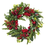 Winter Cedar & Red Berry Wreath