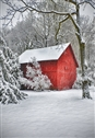 Red Barn in Snow Garden Flag